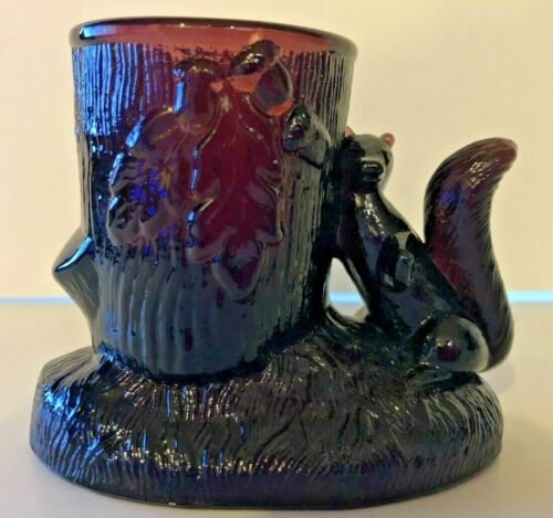 Vintage Amethyst Glass Squirrel Toothpick Holder ~ Excellent ~ So Cute!