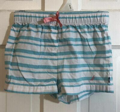 Nautica Girls Pull On Aqua & White Striped Shorts Size 5
