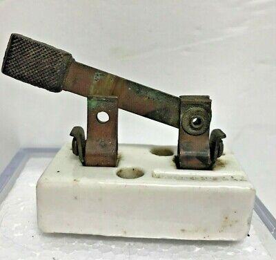 Vintage Single Pole Knife Switch Porcelain Copper Monowatt 25a-125 9912