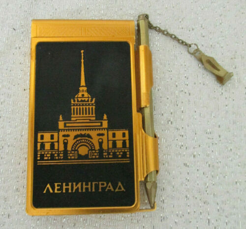 VINTAGE RUSSIAN METAL NOTEBOOK WITH PEN BLACK & GOLD PALACE ALL ORIGINAL