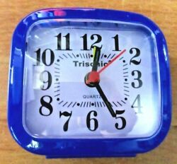 Small Trisonic Analog Travel Alarm Clock AA Operated Blue