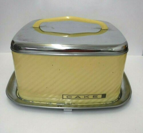 VTG LINCOLN Beauty Ware SQUARE CAKE CARRIER Yellow & Chrome RETRO