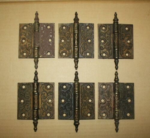 Antique Original Vintage Six Victorian Cast Iron Door Hinges