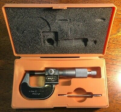 Mitutoyo 193-111 Digital Outside Micrometer 0-25mm Range 0.001mm Wcase