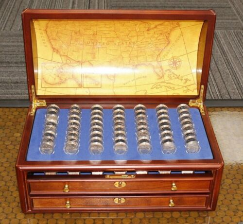 Danbury Mint State Quarter Treasure Chest With  728 Uncirculated Coins (031LAD)
