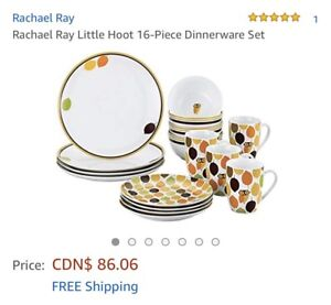 Rachael Ray Little Hoot Owl Dishes -32 pieces (8 place settings)