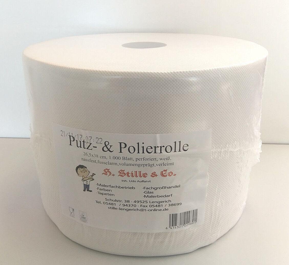 Putztuchrolle Putzpapier Putzrolle weiß 3 lagig 26,5 x 38 cm 1000 Blatt