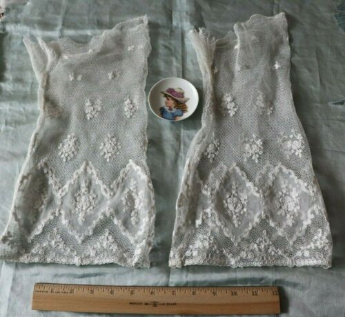 Antique c1890 French Floral Lace Hand Embroidered Cotton Net Sleeves~Doll,Bridal