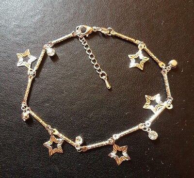 WHOLESALE 925 STERLING SILVER STAR AND CZ DROP ANKLET & FREE GIFTBOX.