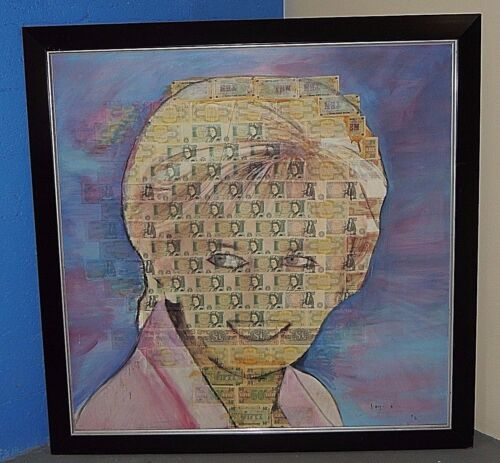 Rare Royi Akavia Oil Mixed Media On Canvas Painting Of Princess Diana - Signed