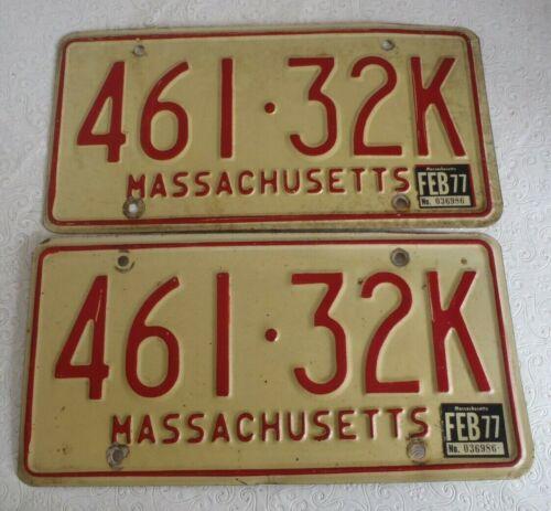 1972-1980s Massachusetts   License Plate Tag 461 32K pair