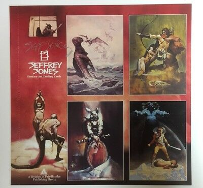 Signed Jeffrey Jones 1993 FPG Uncut 4 Card Promo Sheet NM 9.4 FREE SHIPPING
