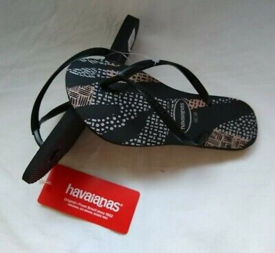 HAVAIANAS BLACK AND ROSE GOLD  FLIP FLOPS, SIZE 6
