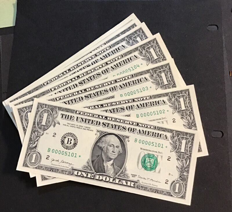 2017  Uncirculated $1 Star Notes. Low Serial # B00005101 -B00005200 ( New York)