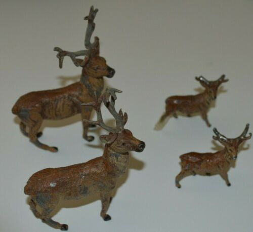 Set of 4 German Metal Lead PUTZ Reindeer Christmas Ornament VTG Germany DEER