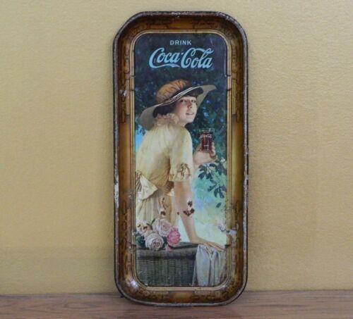 Vintage 1916 Coca-Cola Coke Girl Serving Tray - Original