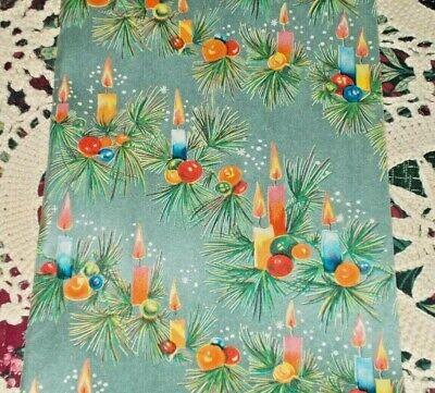 VTG CHRISTMAS JEWELRY STORE WRAPPING PAPER GIFT WRAP 2 YARDS PRETTY CANDLES ()