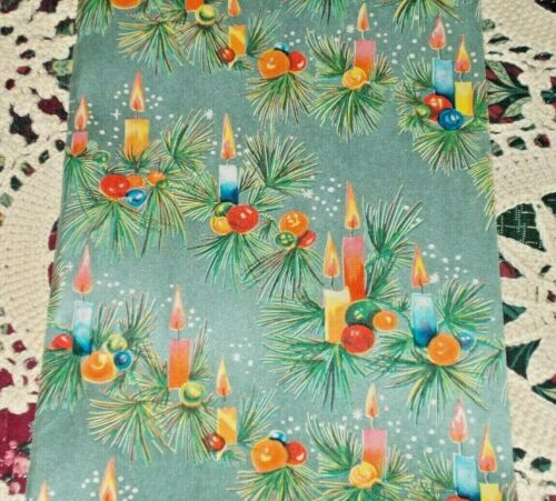 VTG CHRISTMAS JEWELRY STORE WRAPPING PAPER GIFT WRAP 2 YARDS PRETTY CANDLES