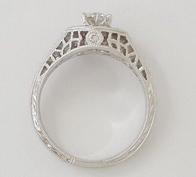 0.75 ct 18K White Gold Round Diamond Halo Engagement Ring GIA Rtl $2,700 9
