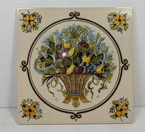 """Vintage Delfts Handpainted Tile Made In Holland Fruits Bowl Ceramic Tile 5 3/4"""""""