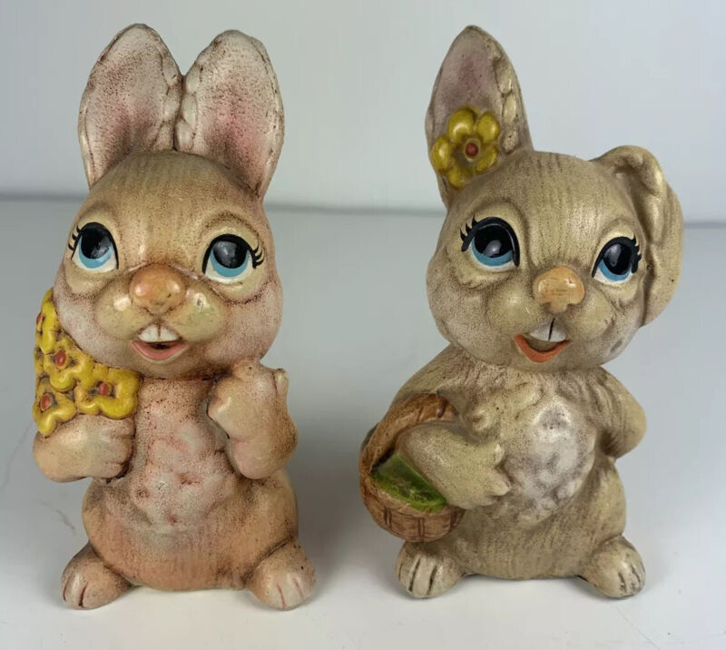 "2 Vintage Easter Bunny Rabbit 4"" Figurines Hand Painted Big Eyes Daisy Basket"
