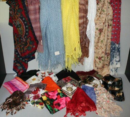 Vintage Scarf Lot - Great Lot of 26 Vintage Scarves & Shawls France, Japan, U.S.
