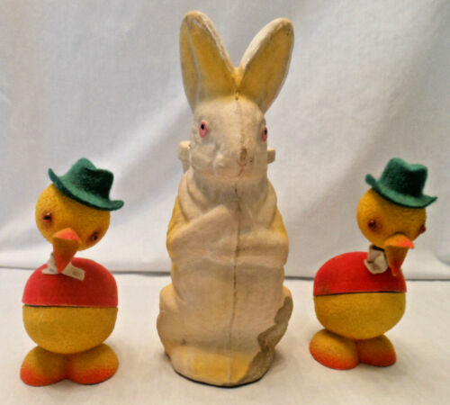 vtg paper mached rabbit + 2 bobble head duck candy container