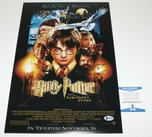 DANIEL RADCLIFFE SIGNED HARRY POTTER & SORCERER'S STONE MOVIE POSTER BECKETT COA