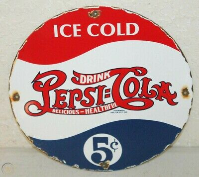 PEPSI COLA PORCELAIN ENAMEL SIGNS VINTAGE STYLE COUNTRY STORE ADVERTISING