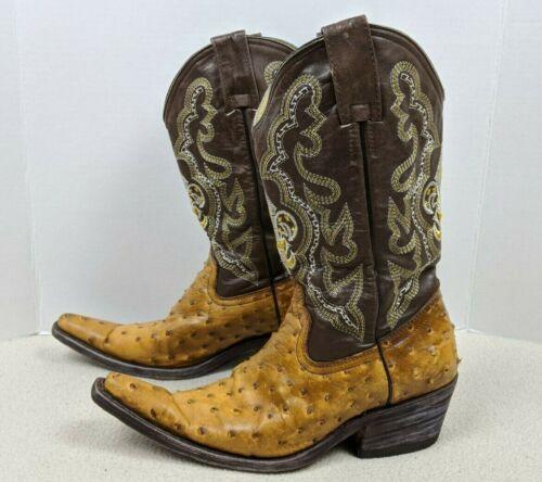 Vtg, Full, Quill, Ostrich, Cowboy, Boot, Pointed, Toe, Cognac/Brown, Fleur-de-lis, Mens, 9D