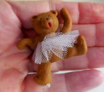 DOLLHOUSE MINIATURE ~CUTE BALLERINA TEDDY BEAR WITH A TIARA
