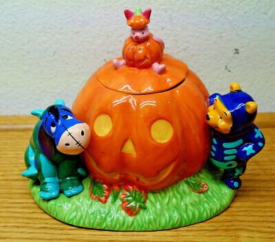 Disney Winnie The Pooh Halloween (1998 DISNEY WINNIE THE POOH HALLOWEEN CERAMIC COOKIE JAR CANDY DISH PIGLET)