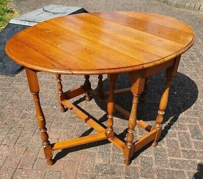 Antique Wooden Drop Leaf Table ~ Small Vintage Oak Table ~ Good Strong Piece