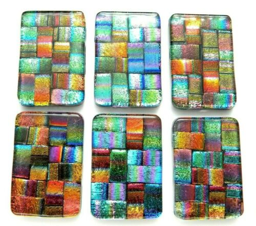 Lot of 6 pcs RECTANGLE DICHROIC FUSED GLASS pendant (D24) CABOCHON HAND MADE