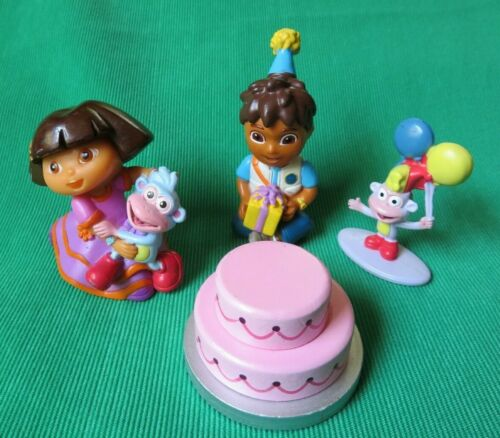 """Dora the Explorer BIRTHDAY CAKE TOPPER 2""""  dollhouse FIGURES + CAKE  LOT"""