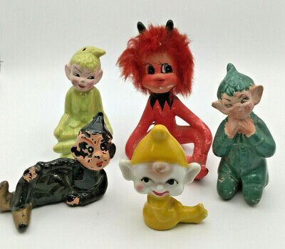 Lot of 5 Vintage 50's Multicolored Ceramic Pixie Elves Gnomes Japan & California