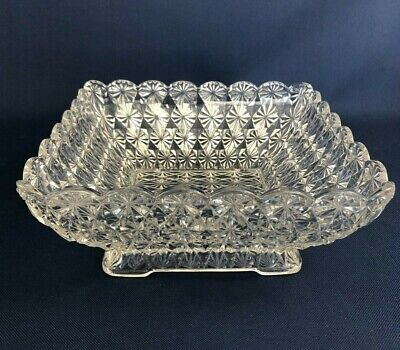 Antique Edwardian clear pressed glass salad or berry bowl ENGLISH DAISY c.1900