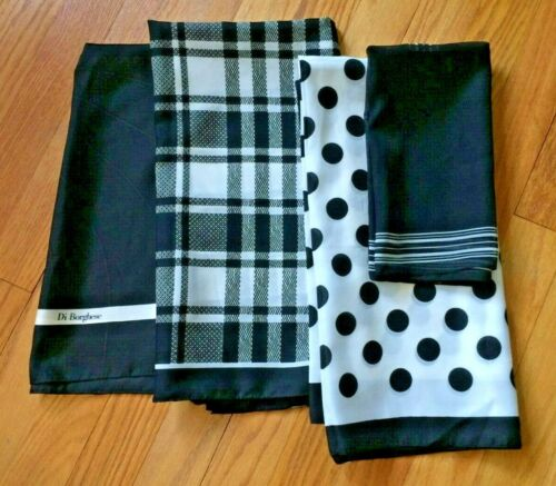 Vintage Lot Of Scarves, Black and White, Different Sizes, Polka Dot. Di Borghese