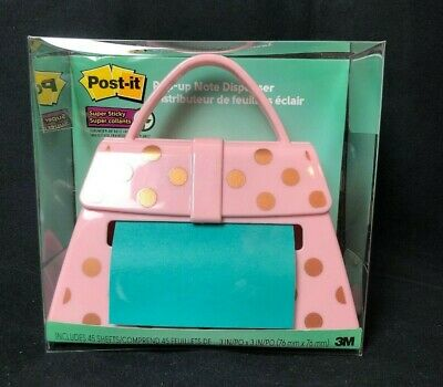 Post-it Pop Up Note Dispenser Polk A Dot Purse Desk Accessory Holds 3 X 3