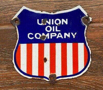 """Vintage """"Union Oil Company"""" Porcelain Enamel Sign 7""""x7"""""""