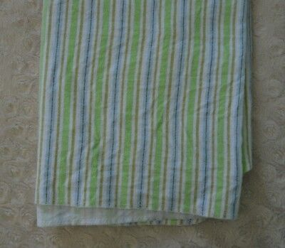 Child of Mine Carter's Stripe Baby Blanket Flannel Receiving Green White Blue