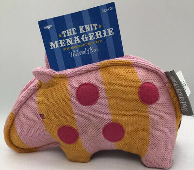 """The Knit Menagerie"" By The Land of Nod Knit Stuffed Hippo  Pink & Orange"