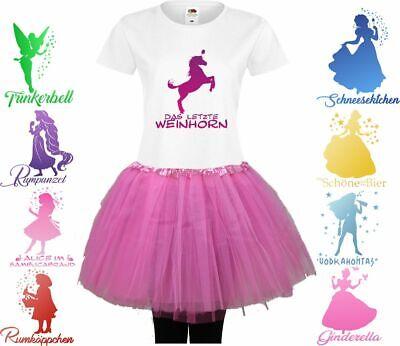 Damen T-Shirt Kostüm Tütü/Rock JGA Karneval Fasching Fastnacht Trinkerbell Delux