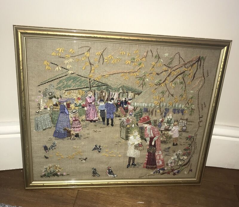 Vintage Embroidery Tapestry Framed Wall Picture Victorian Market Place