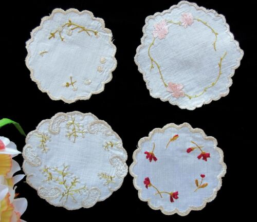 """FOUR Tiny Antique Hand-Embroided """"Society Silk""""  Doilies"""