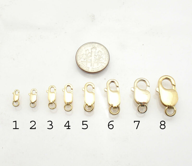 Solid Real 14K Yellow Gold Lobster Claw Clasp Lock for Bracelet Chain Necklace