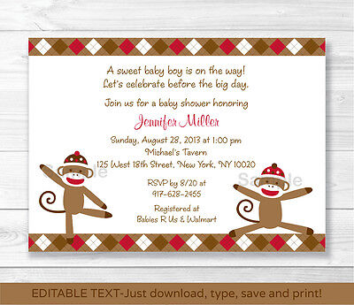 Sock Monkey Invitations (Silly Sock Monkey Baby Boy Printable Baby Shower Invitation Editable)