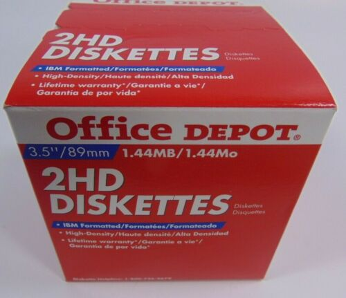 """25 New Office Depot 2HD Floppy Diskettes 3.5"""" 1.44MB High Density"""