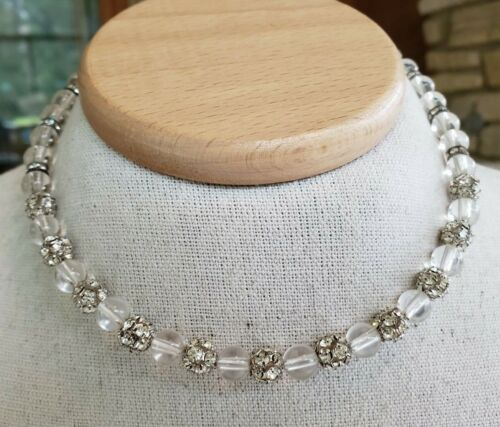 Vtg Lucite & Clear Rhinestone Bead Choker Necklace Adjustable Length Silver Tone