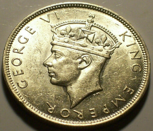 British Rhodesia, 1941 George VI Half Crown, 1/2 Crown. 1,240,000 Mintage.